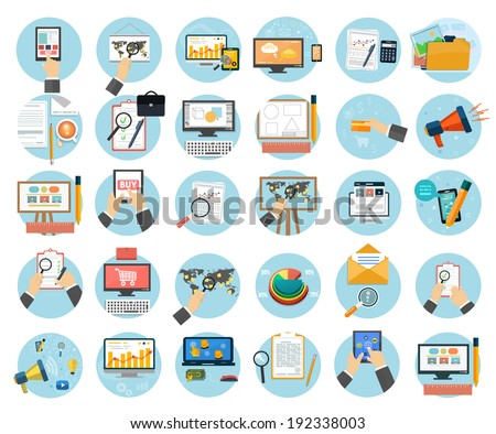 Web design objects, business, office and marketing items icons. Raster version - stock photo