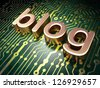 Web design SEO concept: circuit board with word Blog, 3d render - stock photo