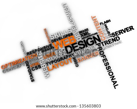 web design word cloud over white background - stock photo