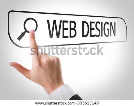 Web Design written in search bar on virtual screen - stock photo