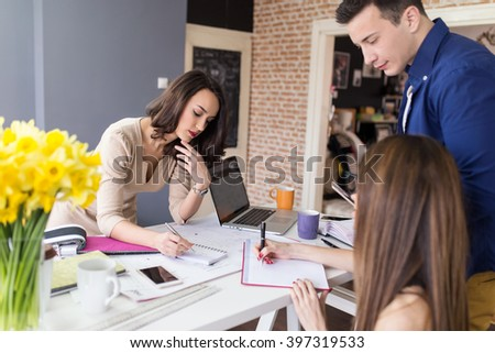Web designer creating layout for new startup website. Depth of field, selective focus  - stock photo