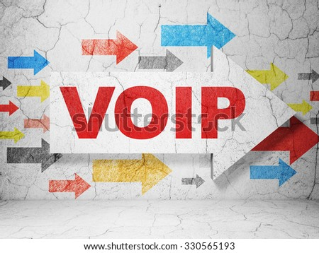 Web development concept:  arrow with VOIP on grunge textured concrete wall background - stock photo