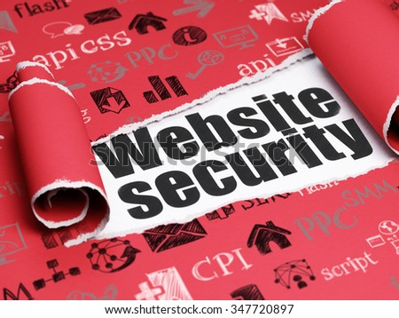 Web development concept: black text Website Security under the curled piece of Red torn paper with  Hand Drawn Site Development Icons - stock photo
