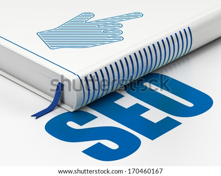 Web development concept: closed book with Blue Mouse Cursor icon and text SEO on floor, white background, 3d render - stock photo