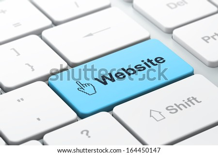 Web development concept: computer keyboard with Mouse Cursor icon and word Website, selected focus on enter button, 3d render - stock photo