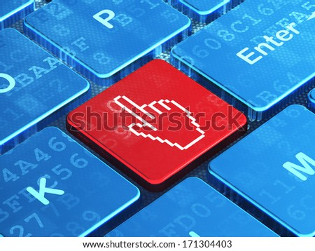 Web development concept: computer keyboard with Mouse Cursor icon on enter button background, 3d render - stock photo