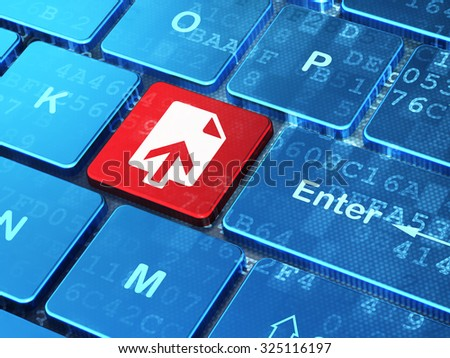 Web development concept: computer keyboard with Upload icon on enter button background, 3d render - stock photo