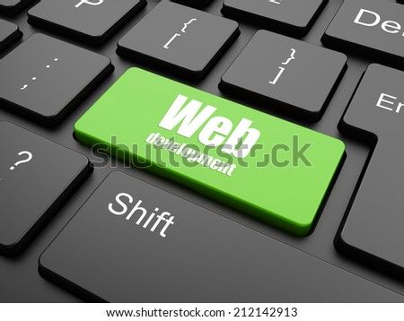 Web development concept: computer keyboard with word Web Development on enter button background, 3d render - stock photo