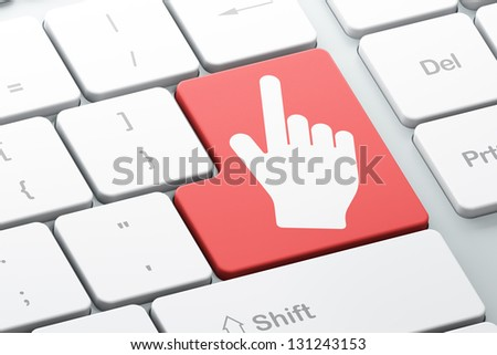 Web development concept: Enter button with Mouse Cursor on computer keyboard, 3d render - stock photo