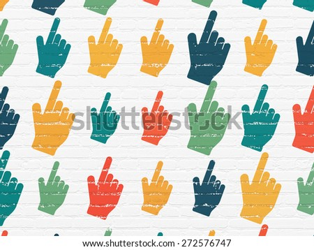 Web development concept: Painted multicolor Mouse Cursor icons on White Brick wall background, 3d render - stock photo