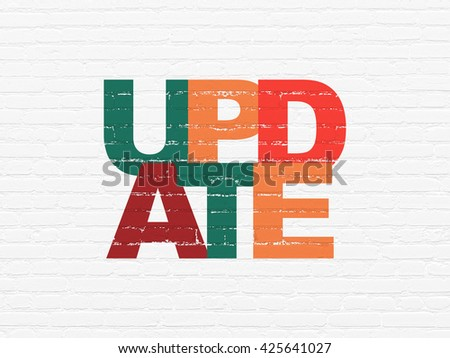 Web development concept: Painted multicolor text Update on White Brick wall background - stock photo