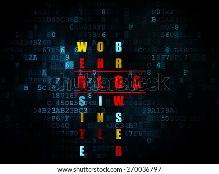 Web development concept: Pixelated red word Blog in solving Crossword Puzzle on Digital background, 3d render - stock photo