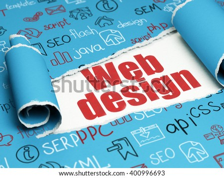 Web development concept: red text Web Design under the curled piece of Blue torn paper with  Hand Drawn Site Development Icons, 3D rendering - stock photo
