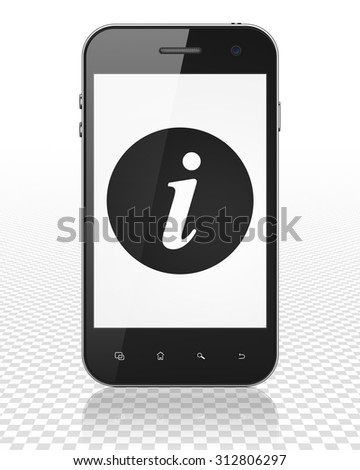 Web development concept: Smartphone with black Information icon on display - stock photo