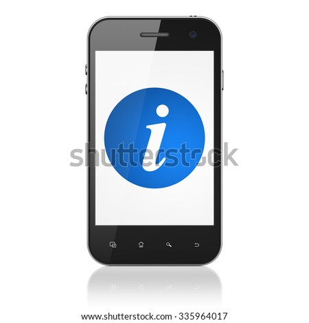 Web development concept: Smartphone with  blue Information icon on display,  Binary Code background - stock photo