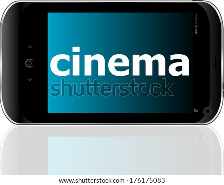 Web development concept: smartphone with word cinema on display - stock photo
