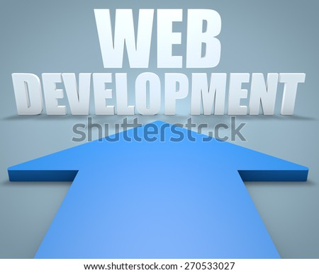 Web Development - 3d render concept of blue arrow pointing to text. - stock photo