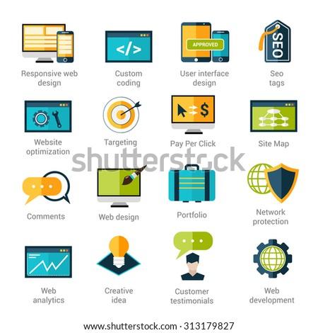 Web development icons set with responsive design custom coding seo tags isolated  illustration - stock photo