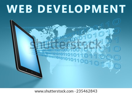 Web Development illustration with tablet computer on blue background - stock photo