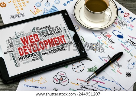 web development word cloud with related tags - stock photo