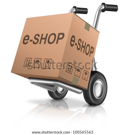 web e-shop icon online internet shopping cart concept cardboard box with text on a hand truck e-commerce - stock photo