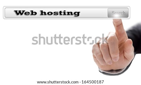 Web hosting written in search bar on virtual screen. - stock photo