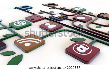 web icons isolated on white background - stock photo