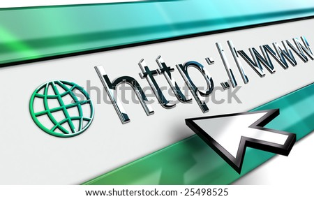 web Internet browser bar in perspective with smooth surface mouse pointer in vista style. - stock photo