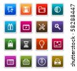 Web & Internet Sticker Icons 2 isolated over white background - sticker series - stock photo