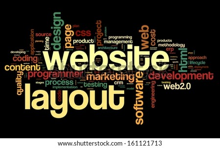 Web layout concept in word tag cloud on black background - stock photo