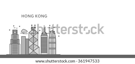 Web page chinese city of incredible Hong Kong. China and hong kong street, asia architecture, building asian, chinese skyscraper, urban famous downtown illustration. Black on white. Raster version - stock photo