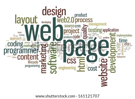 Web page concept in word tag cloud on white background - stock photo