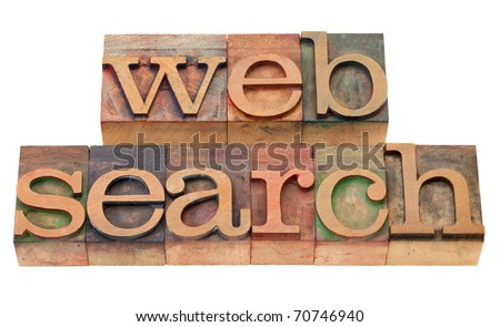web search concept - isolated words in vintage wood letterpress printing blocks, stained by color inks - stock photo