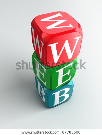 web sign 3d colorful buzzword tower on white background - stock photo