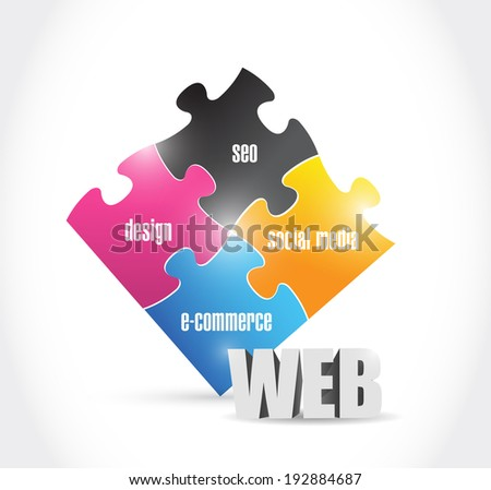 web solutions puzzle illustration design over a white background - stock photo