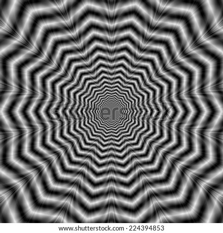 Web Star in Black and White / A digital abstract fractal image with an optically challenging chevron ringed star design in black and white. - stock photo