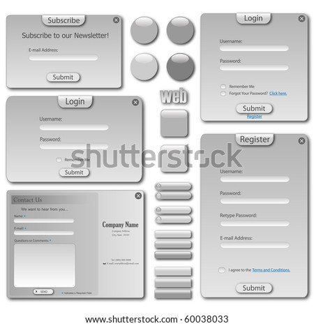 Web template with forms, bars and buttons. - stock photo
