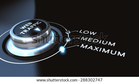 Web traffic concept. switch positioned on maximum. Black background and blue lights. - stock photo