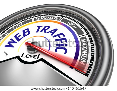 web traffic conceptual meter indicate maximum, isolated on white background - stock photo