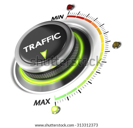 Web Traffic switch button positioned on maximum, white background and green light. Conceptual image for webtraffic improvement strategy. - stock photo