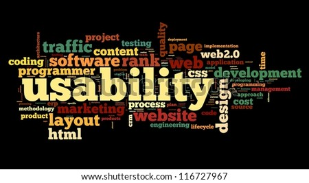 Web usability concept in tag cloud on black background - stock photo
