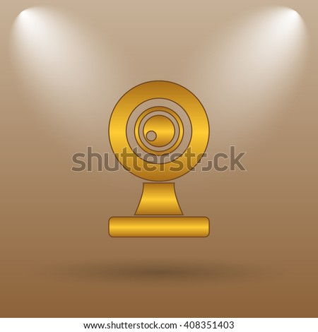 Webcam icon. Internet button on brown background.