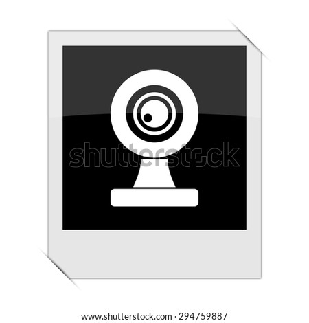 Webcam icon within a photo on white background - stock photo