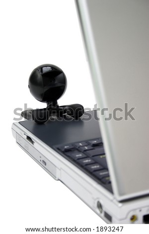 Webcam seeing what's on the internet - isoalted on white - stock photo