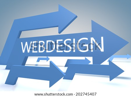 Webdesign 3d render concept with blue arrows on a bluegrey background. - stock photo
