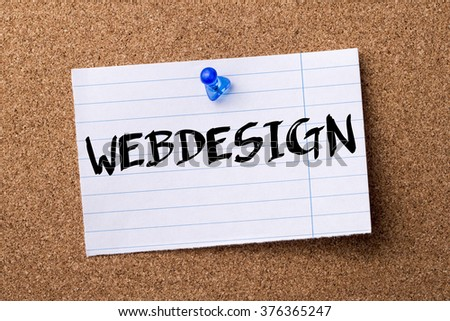 WEBDESIGN - teared note paper  pinned on bulletin board - horizontal image - stock photo