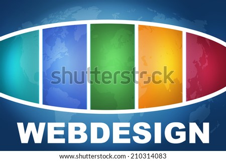 Webdesign text illustration concept on blue background with colorful world map - stock photo