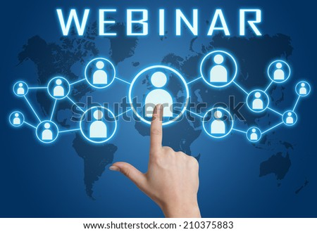 Webinar concept with hand pressing social icons on blue world map background. - stock photo