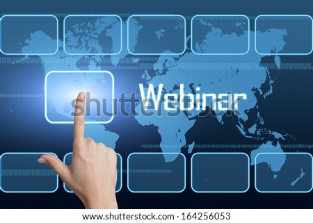 Webinar concept with interface and world map on blue background - stock photo