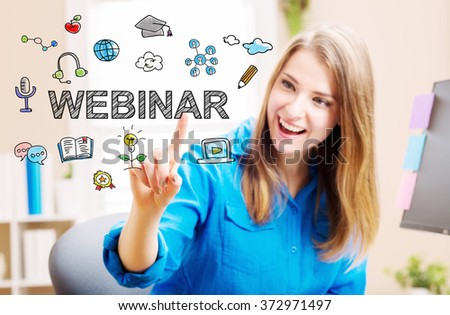 Webinar concept with young woman in her home office - stock photo